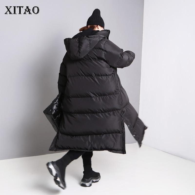 Et Hiver Femelle Femmes Épais Nouvelles Mode Manteau Long De 2018 xitao Solide Europe Lyh2353 Pleine Black Couleur Split Lâche Parka Douille tq7awwX