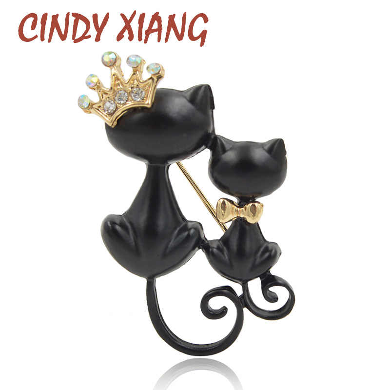 CINDY XIANG Black Cat Brooches For Women Enamel Animal Brooch Pin Fashion Jewelry Special Accessories Cute Coat Bag Brooch Gift