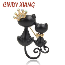 New Arrival Black Cat Brooches For Women Enamel Animal Brooch Pin Fashion Jewelry Special Accessories Cute Coat Bag Brooch Gift mziking new black cat brooch for women flower brooch cute cat head enamel pin jewelry clothes accessories brooches for wedding