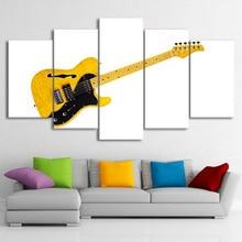 Wall Art Poster Modern Home Decor Living Room 5 Pieces Musical Instrument Yellow Guitar Canvas Painting Modular Framework