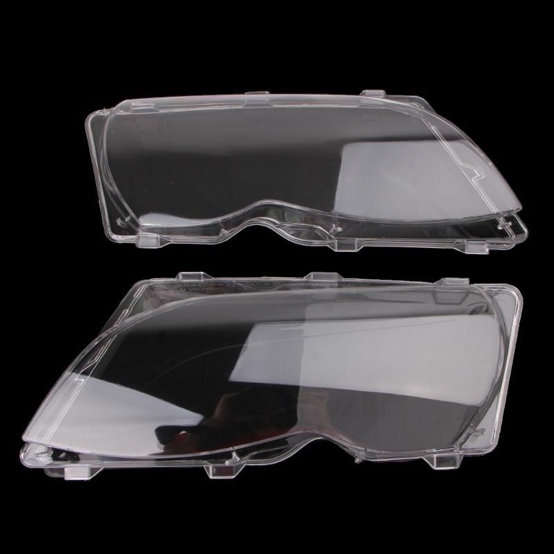 YAM 2 Pcs Pair Headlight Lenses Replacement Left Right Headlamp For BMW E46 4 DR