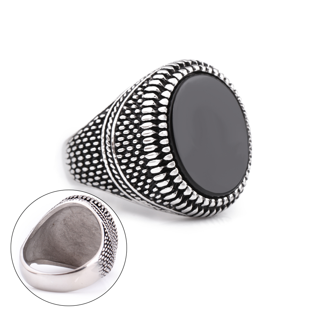 Fashion Super Hero Ring Men's Ring With Black Stone Ring 316L Stainless Steel Jewelry Vintage Silver Plated Ring 4