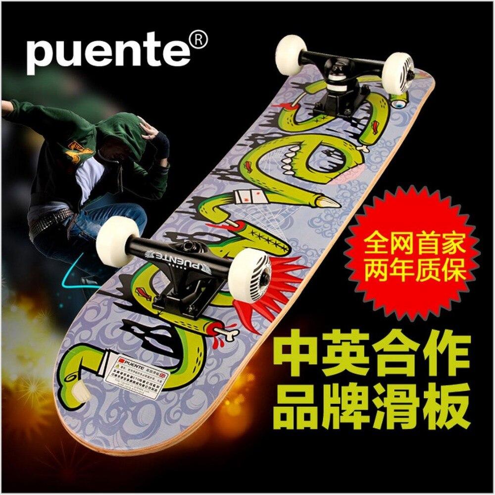 QualityCanadian D'érable Graffiti Planche À Roulettes 78.5*19.5*10 cm LongBoard hommes/fille DoubleRocker Monopatin rue skate Limite de planche à roulettes