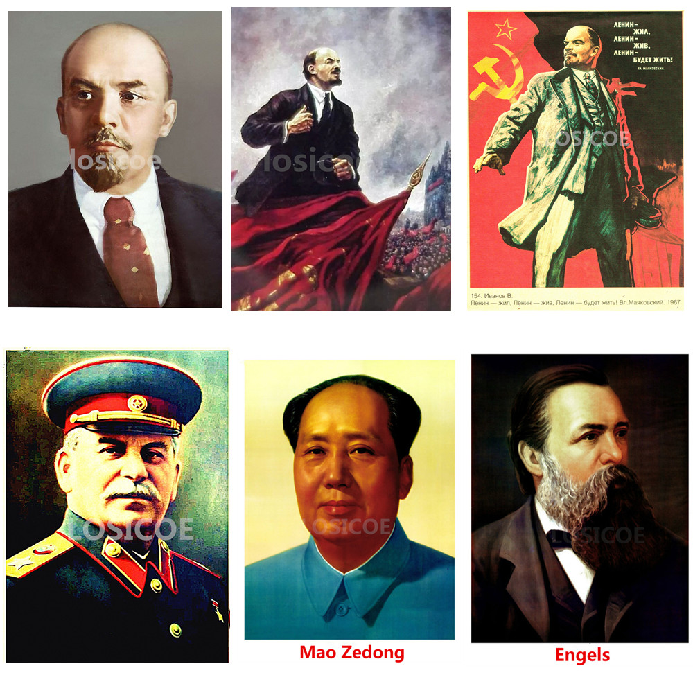 Lenin Stalin Marx Engels Mao Zedong Soviet Leaders Communist Poster 30X42 CM Retro Retro Kraft Paper Wall Stickers Home Decor