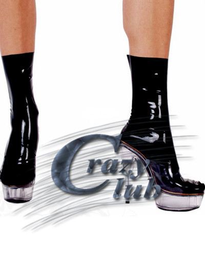 Crazy club_Top Fashion Limited Erotic Lingerie Latex Black Sexy Short Solid black latex socks Meet fantasy Sale Fast Delivery