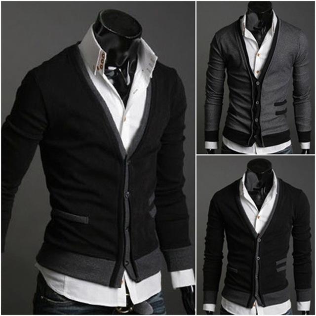Mens Masculino Moda Algodão Premium Boa Venda Clássico Elegante Com Decote Em V Sólidos Fit Botão Confortável Semeadas Cardigan XL