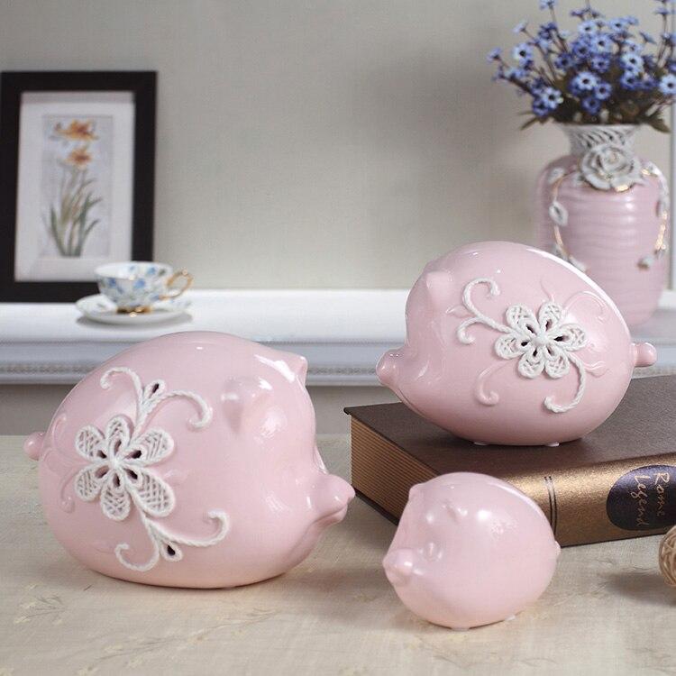 Set van 3 Fashion keramische roze varken decoratie woonkamer tv kast ...