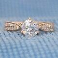 Queen brilliance genuine14k 585 oro amarillo de alta calidad 1 carat nscd diamante simulado anillo de compromiso de la boda para las mujeres