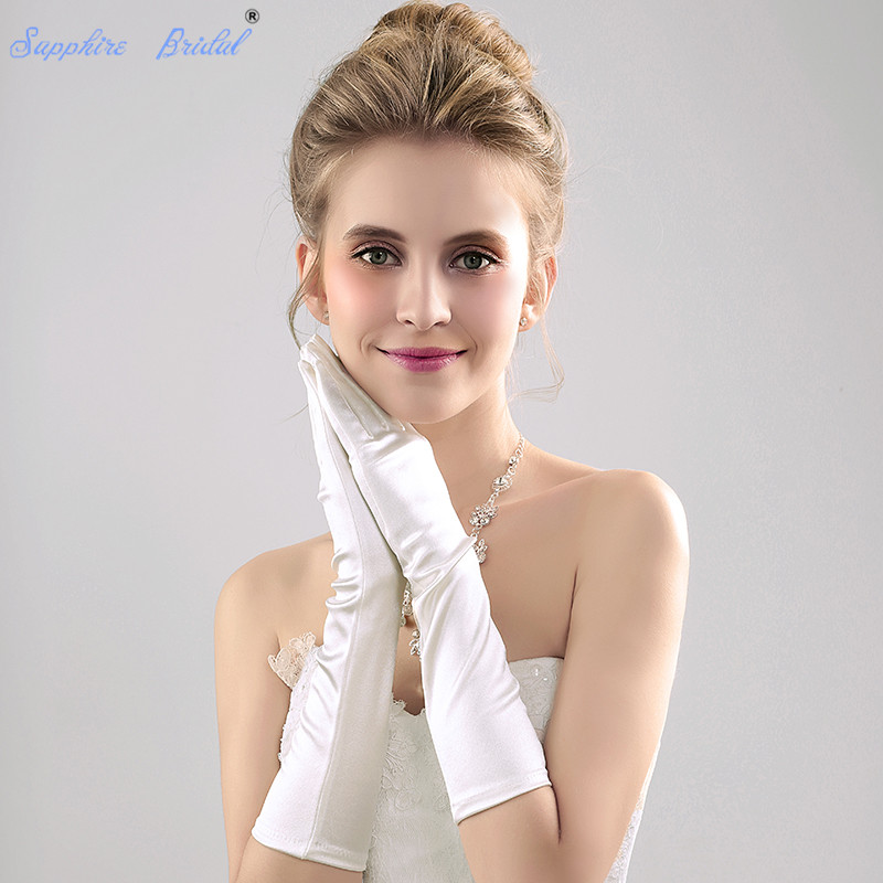 Sapphire Bridal Stretch Satin Gloves Opera length Bridal Dance Gloves for Wedding Party Prom Colorful Hot Sale