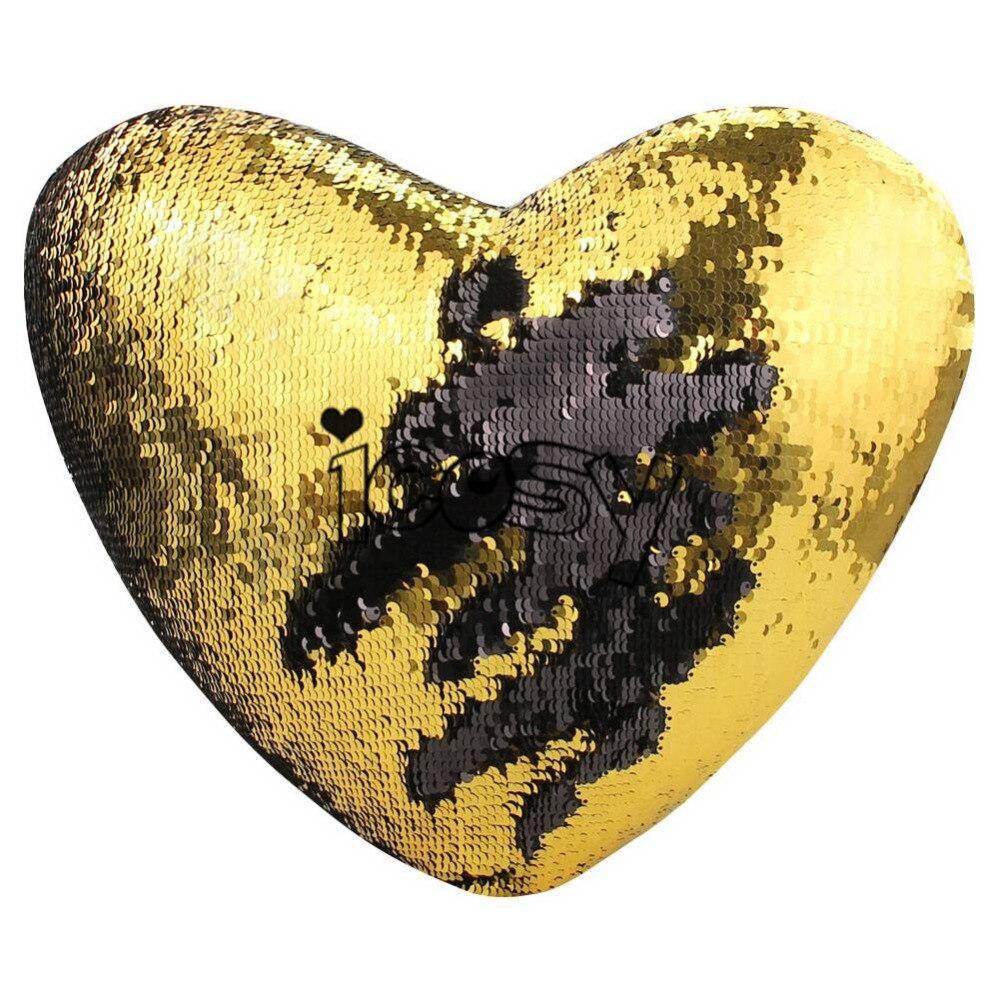 Heart Shaped Mermaid Pillow Decorative Pillowcase Glitter Throw ...