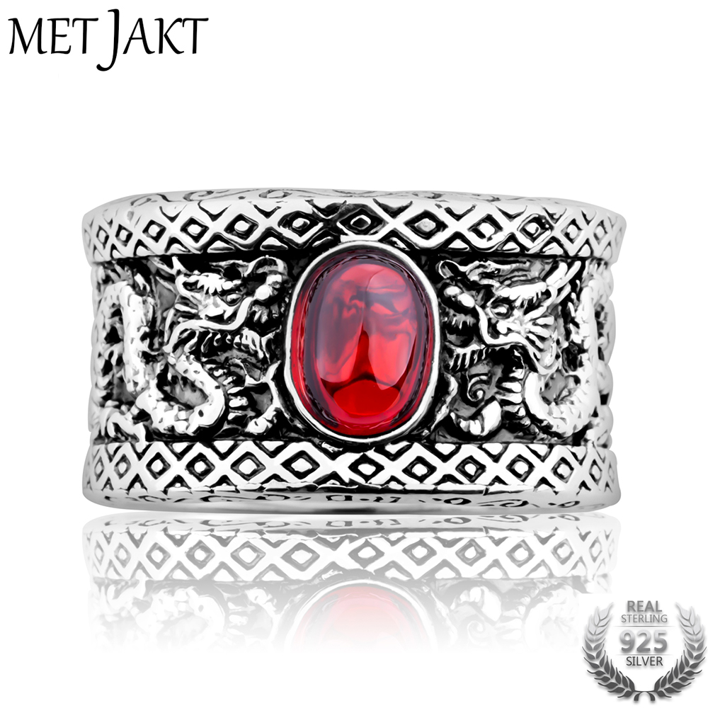 MetJakt Punk Men s Garnet Ring Double Dragon Play Beads Solid 925 Sterling Silver Ring for