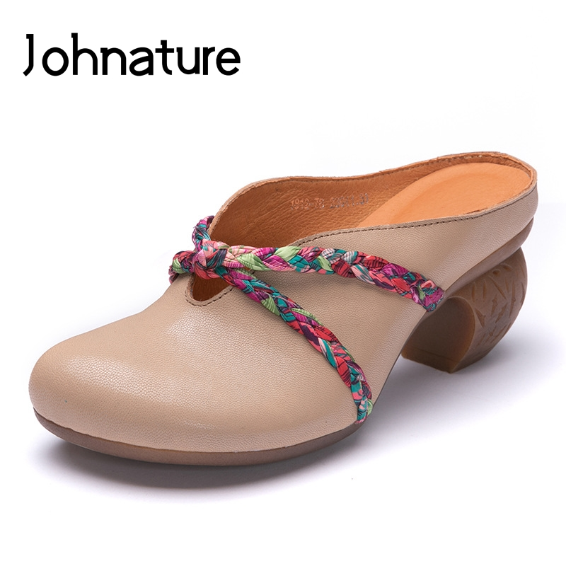 Johnature 2019 New Summer Genuine Leather Slippers Round Toe Casual Wedges Retro Narrow Band Sandals Women