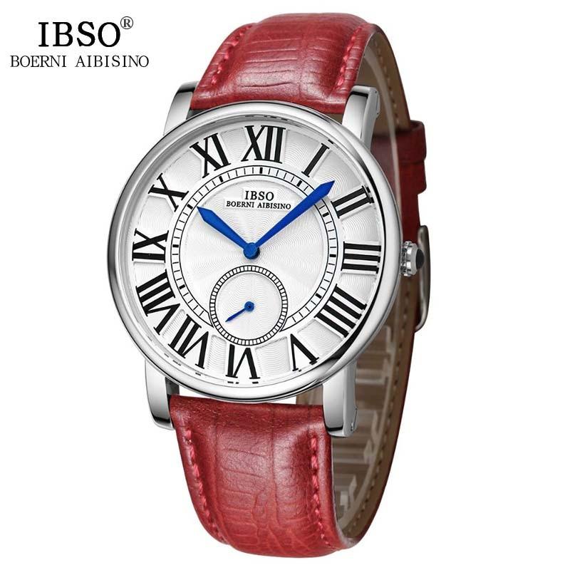 IBSO Fashion Watch Women Brand Luxury Quartz Clock Women Casual Leather Watches Female Wrist Watch 2018 Relogio Feminino #6801 classic simple star women watch men top famous luxury brand quartz watch leather student watches for loves relogio feminino