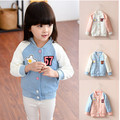 2015 new brand Autumn kids Girls baseball jacket child outerwear children coat cotton children autumn fashion girls stars coat