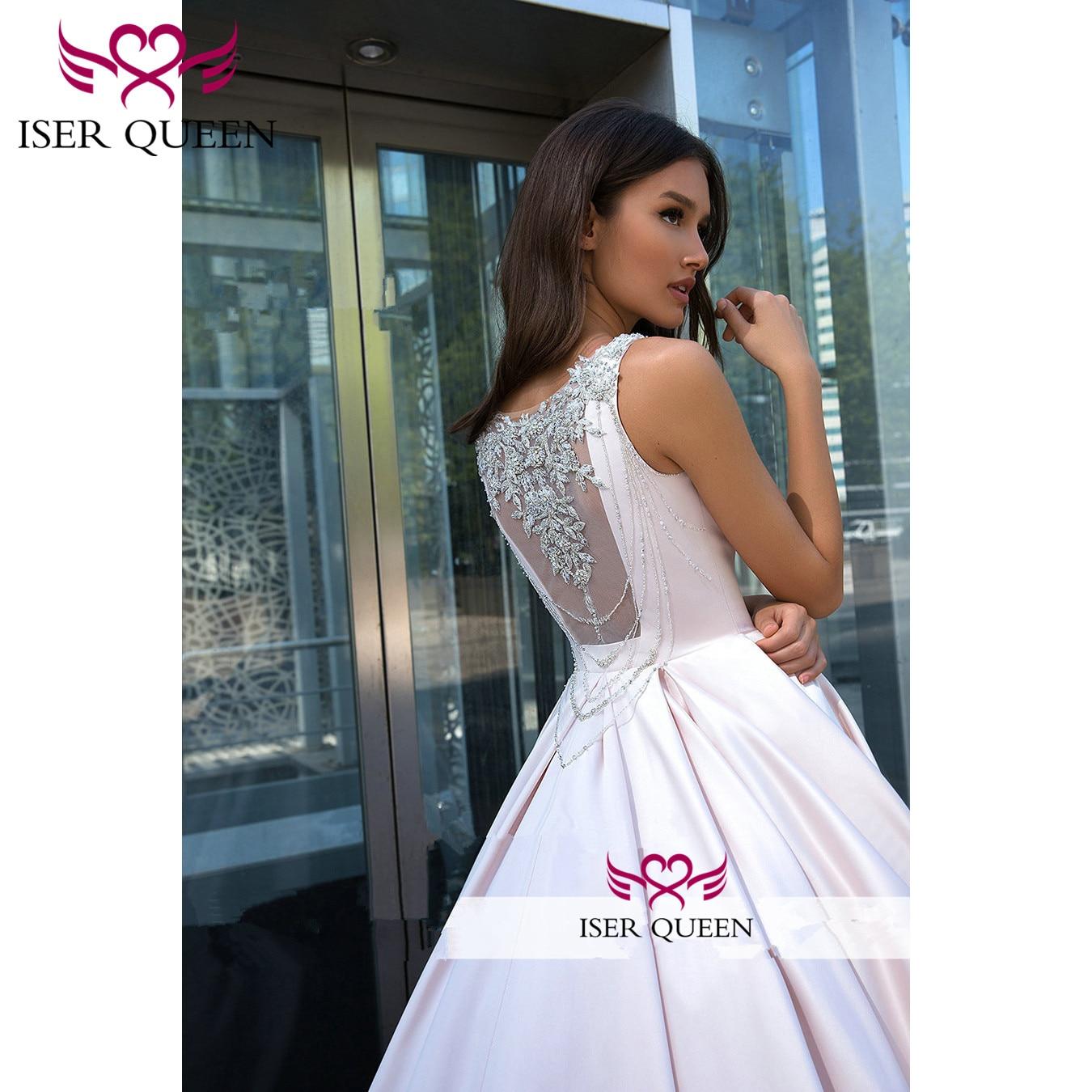 Perles cristal dos conception d'illusion brillant Satin robe De mariée froncé élégant Simple Vestido De Novia Princesa w0553
