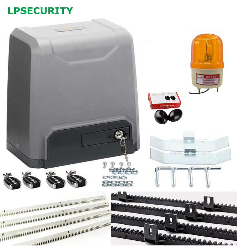 LPSECURITY 1500kg electric automatic sliding gate door opener operator motor 4,5,6m racks 1 sensor 1 flashing lamp strobe automatic sliding gate opener for home automation 1000kg