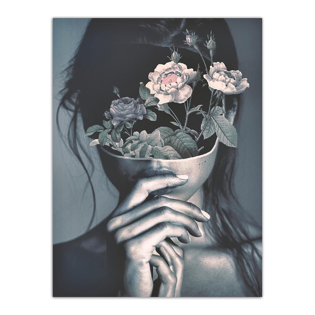 Abstract Flower Girl Nordic Poster Wall Art Canvas Painting Picture Posters And Prints Wall Pictures For Living Room Unframed in Painting Calligraphy from Home Garden