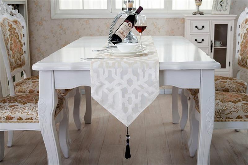 Grey white coffee modern tablecloth rectangular wedding for Chemin de table eurodif