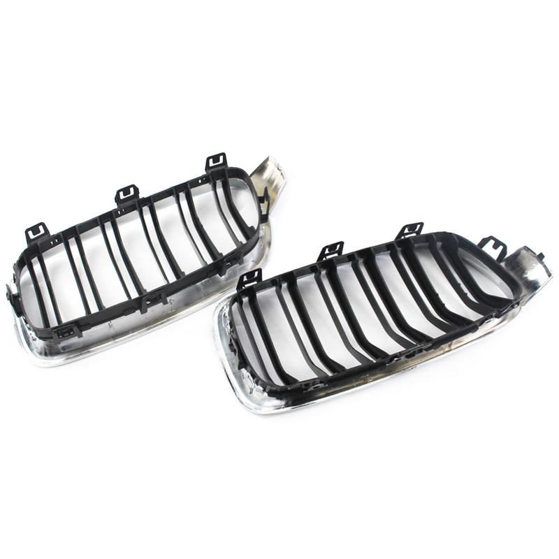 Style de voiture pour BMW F30 2012-2018 2 pièces cadre Semi-plaqué brillant noir Double maille de Grille de fil