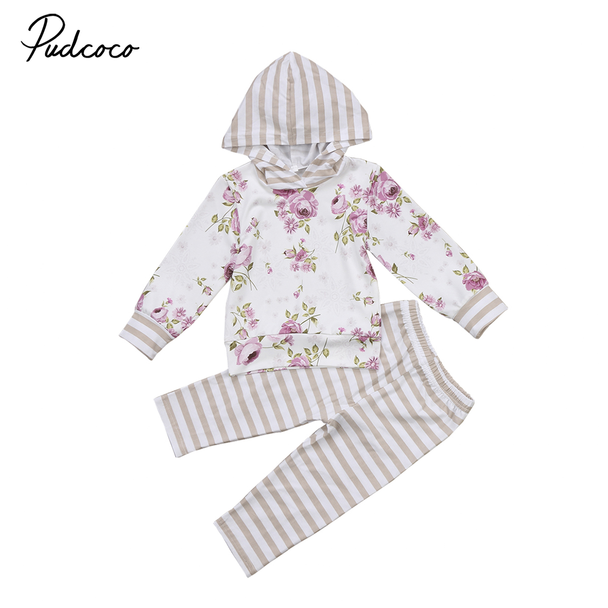 baby girls floral clothing Baby Girls Autumn Hoodies Outfits Clothes long sleeves T shirt+ striped Pants 2pcs Set Tracksuit