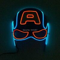 Два Цвет смешанный заказ EL провода светящийся день рождения Маска Карнавал, праздник освещения световой энергосберегающие маска 3 В