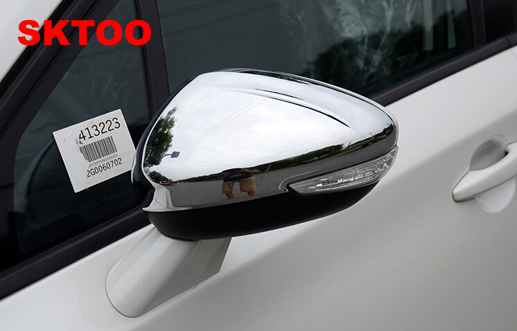 SKTOO Car Stying Fit For <font><b>Peugeot</b></font> 301 308 <font><b>408</b></font> 508 2008 3008 308S Door Side Wing <font><b>Mirror</b></font> Chrome Cover Rear View Cap Accessories image