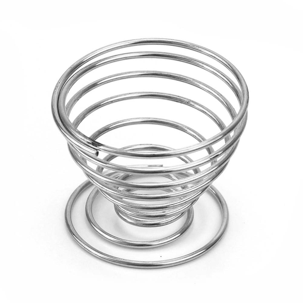 4x Silver Stainless Steel Spring Wire Tray Boiled Egg Cups Holder ...