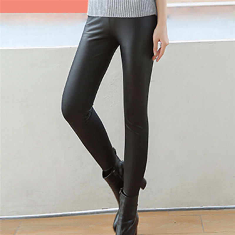 customers first top-rated genuine top-rated cheap Faux Leather Leggings Navy Blue Sexy Women Leggins Thin Black Leggings  Calzas Mujer Leggins Plus Size bottoms hot sale pants