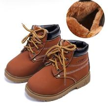 Детские зимние ботинки; коллекция года; детская кожаная обувь для маленьких мальчиков и девочек; модная детская плюшевая Толстая теплая кожаная обувь