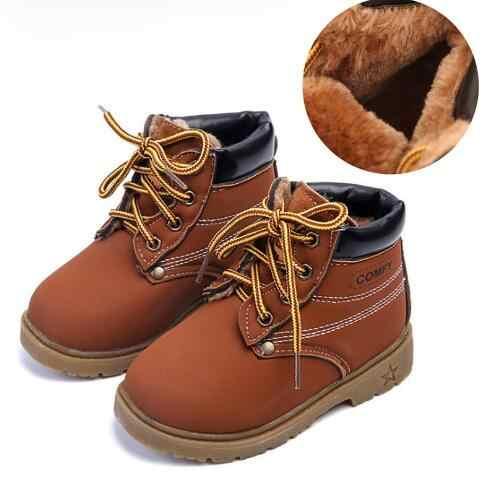 Kinderen Winter Snowboots 2019 Kinderen leren schoenen Baby Jongens & Meisjes Rubber littie kids Fashion Pluche Dikke Warme Lederen schoenen