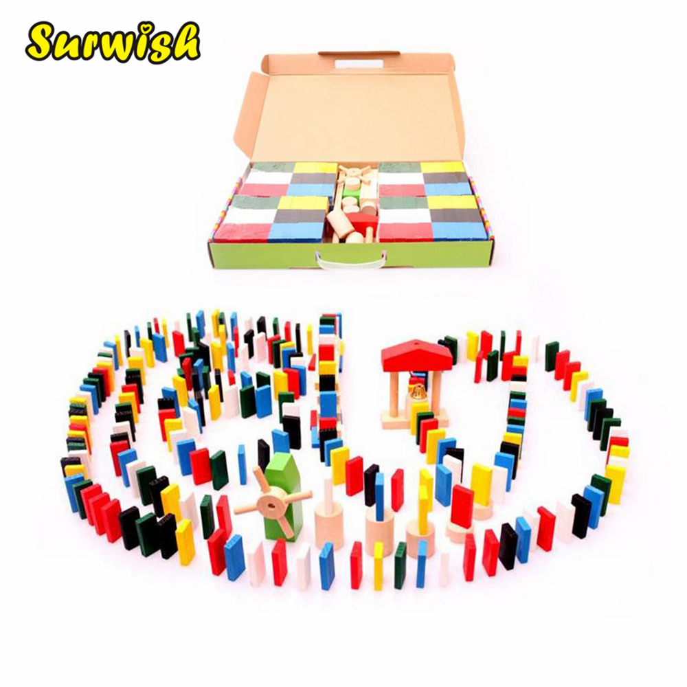 Surwish 480pcs Animal Solitaire Puzzle Domino Children Standard Domino Wooden Toys Early Childhood Montessori Educational Game children wooden mathematics puzzle toy kid educational number math calculate game toys early learning counting material for kids