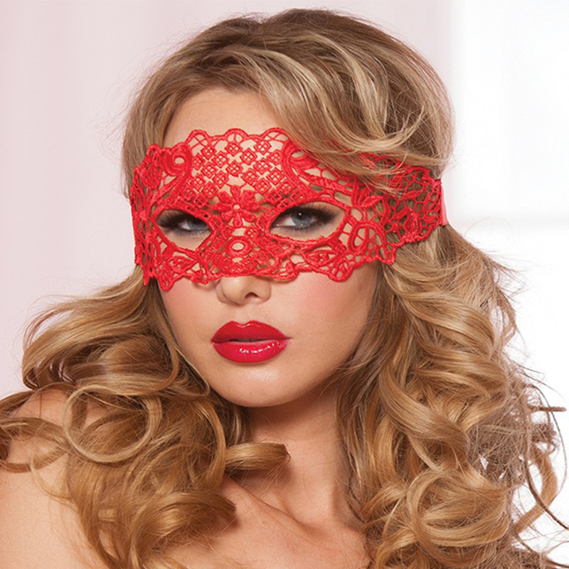Sexy Babydoll Porn Lingerie Sexy Black/White/Red Hollow Lace Mask Exotic Erotic Costumes Women Sexy Lingerie Hot Cosplay Masks(China)