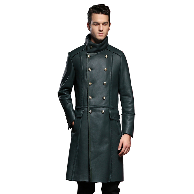 Real Sheepskin Fur Coat Genuine Leather Male Casual Winter Thick Double Breasted Jacket Black Green Warm Men Fur Long Outwear
