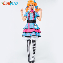 New Blue Polka Dot Skirt Beer Clown Circus Stage Performance Performance Role Play Holiday Funny Show цена