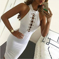 New Women Halter Sexy Dress Sleeveless Vestidos Hollow Out Package Hip Party Dresses Women Clothing White Bandage Dress Clubwear