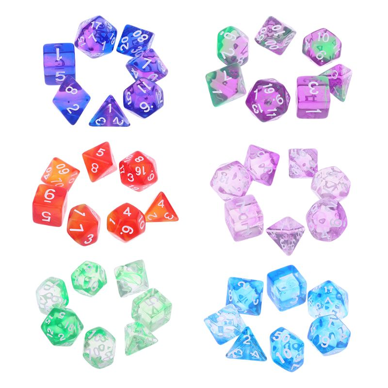7pcs Transparent Sided Dice D4 D6 D8 D10 D12 D20 Dungeons & Dragon D&D RPG Poly Table Board Game Set
