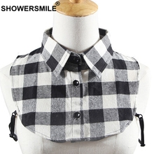 SHOWERSMILE Shirt Collar Women Plaid Detachable Men British Style Red Black Checkered Blouse Removable Lapel Fake