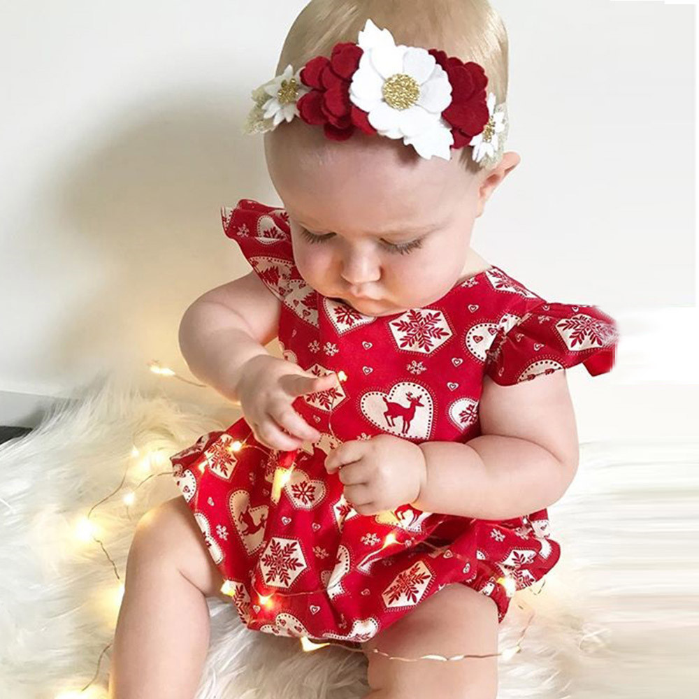 Girls' Baby Clothing Clothing Sets Hot Sale Toddler Infant Baby Girl Clothes Christmas Deer Romper Headband 2pcs Set Outfit Sleeveless Jumpsuits Red Hairband For Babe Girls