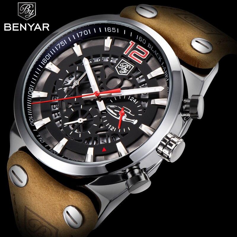 BENYAR Sport Chronograph männer Uhren Mode Militär Wasserdichte Leder Luxus Marke Quarz Männlichen Armbanduhr Relogio Masculino