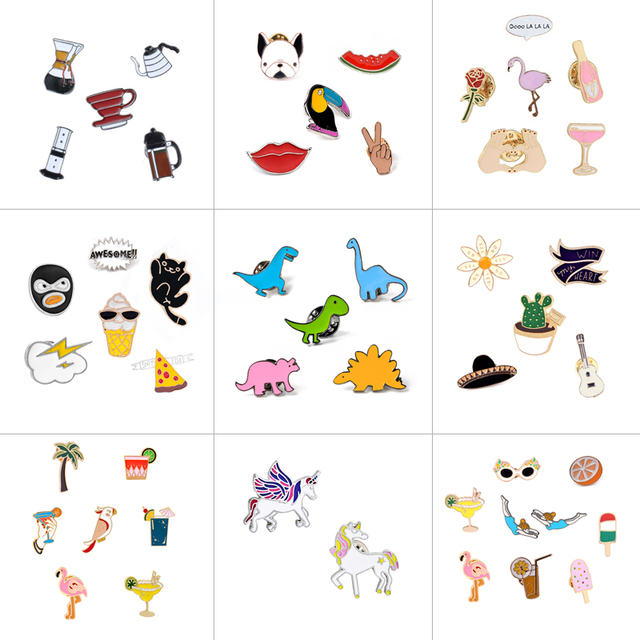 2~9Pcs/set Enamel Brooch Pin Pot Cup Dinosaur Parrot Dog Flamingo Pizza Brooch Lips Drink Brooches For Women Hat Badge Jewelry