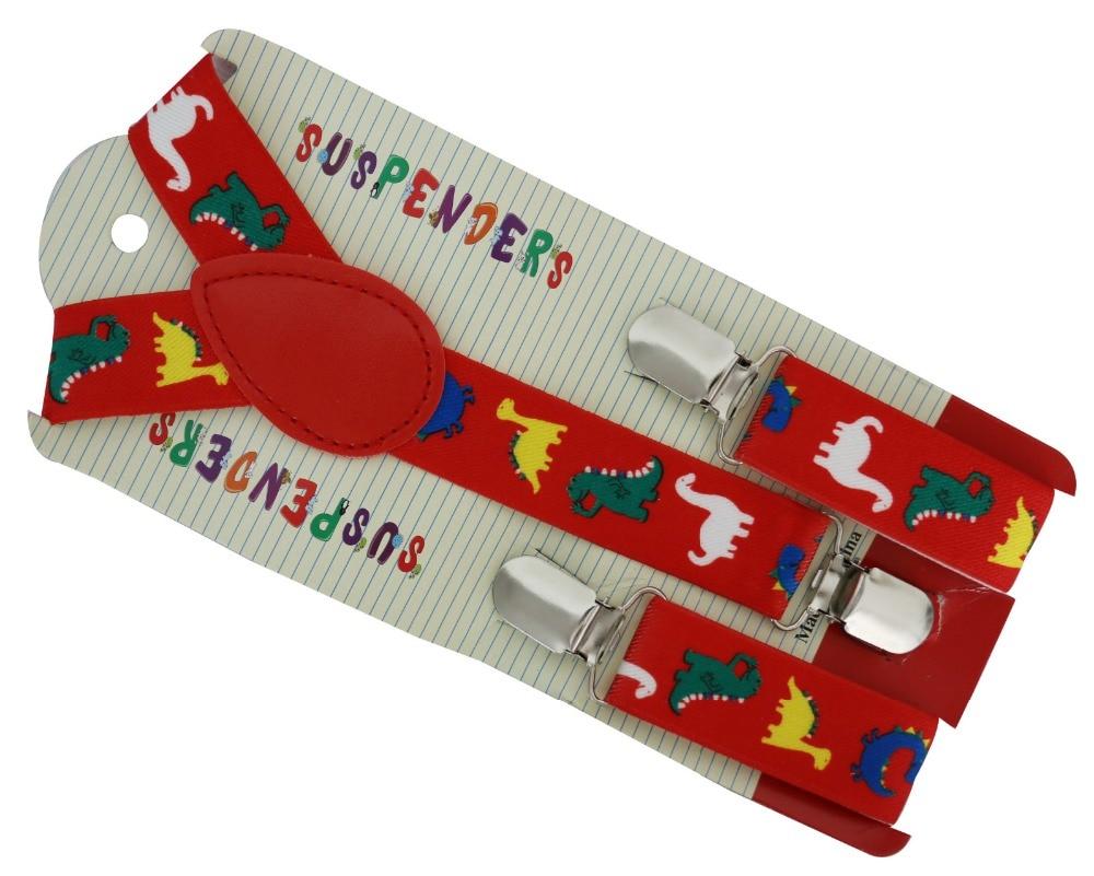 2019 New 2.5cm Wide Adjustable Red Dinosaurs Animal Print Suspenders Braces For Boys Girls