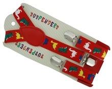 2016 New 2.5cm Wide Adjustable Red Dinosaurs Animal Print Suspenders Braces For Boys Girls