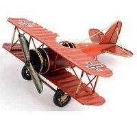 Aircraft Model Handmade Metal Crafts Airplane Tin Plate 3 Colors Iron Plane Retro Style Antique Imitation Home Decor Unique Gift