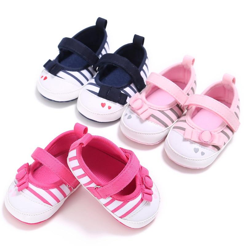 Baby Shoes Girls First Walkers Striped Soft Sole Toddler Prewalker Shoes De En Primer Lugar Walker Non Slip