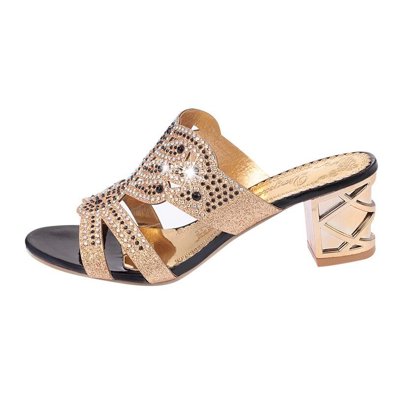 Lucyever 2019 Summer Women's Rhinestones Slippers Slides Fashion Thick High Heels Gladiator Sandals Beach Flip Flops Shoes Woman