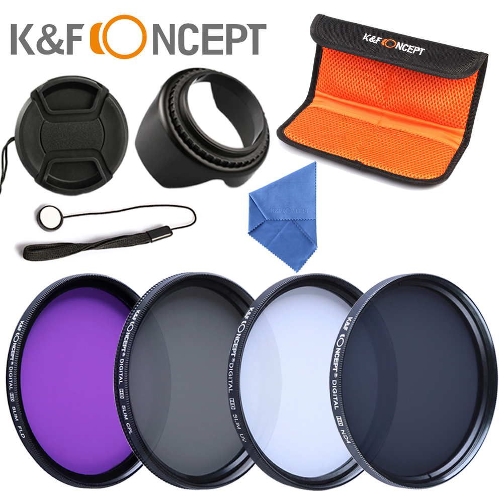 K&F CONCEPT 52/55/58/67mm UV+CPL+FLD+ND4 Neutral Density Camera Filters Kit Optical Glass For Canon Nikon Sony Fuji DSLR+5 Gift