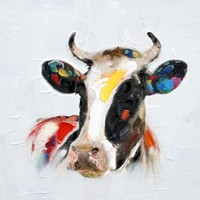 High Quality 50 Hand Painted Modern Art Colourful Animal Picture Lovely Cow Oil Painting For Living