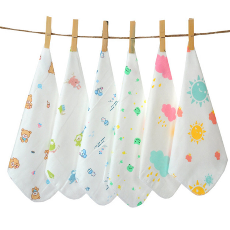 10 Pieces / Lot Children Baby Cartoon Towel Cotton Gauze Absorbent Printed Square Towels Drying Washcloth Handkerchief AD0431