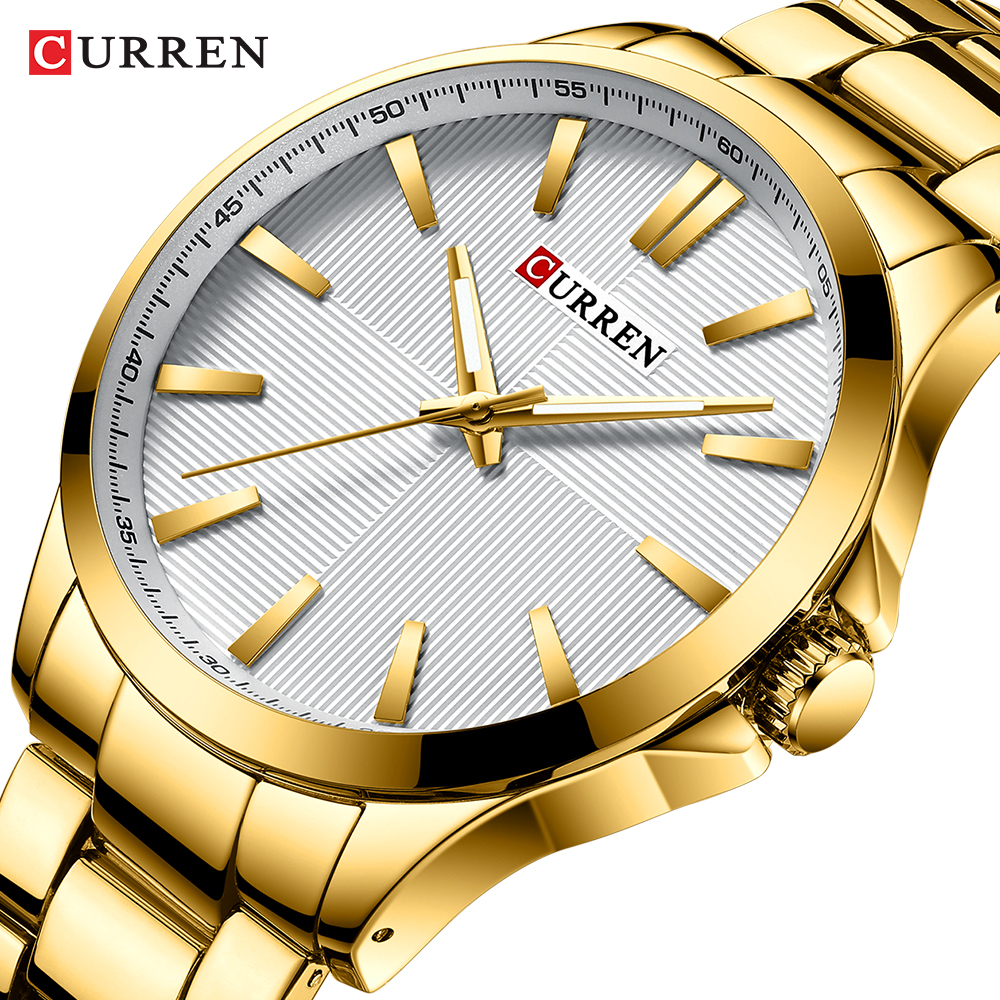 Mens Watches Top Brand Luxury Stainless Steel Band Watch For Men CURREN Wristwatch Fashion Business Quartz Clock Man Waterproof