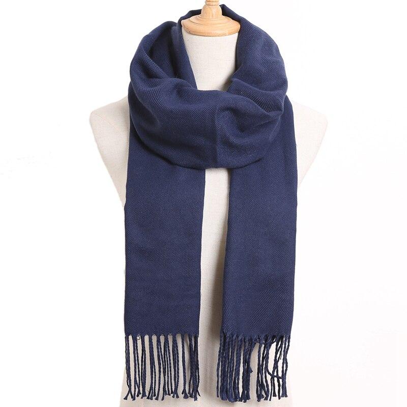 [VIANOSI] клетчатый зимний шарф женский тёплый платок одноцветные шарфы модные шарфы на каждый день кашемировые шарфы - Цвет: 55